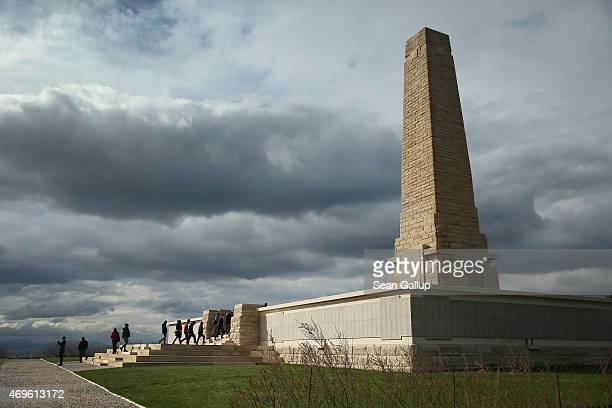 Visitors climb the step at the Helles Memorial, which commemorates Allied soldiers who died during the Gallipoli Campaign, on April 7, 2015 at Sedd...