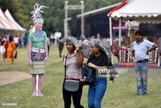 Visitors during the North East Calling festival at India Gate on September 9 2017 in New Delhi India The twoday North East Calling event organised by...
