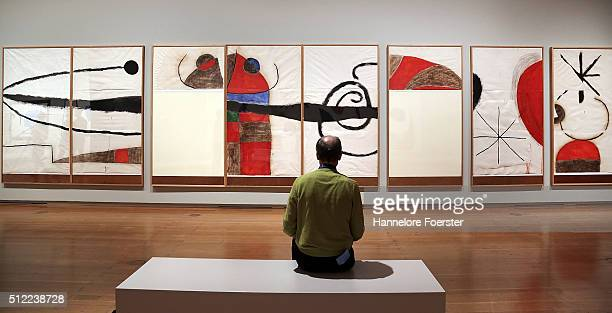 Visitors during the preview of the exhibition 'Joan Miro Wandbilder Weltenbilder' at Schirn Kunsthalle on February 25 2016 in Frankfurt am Main...