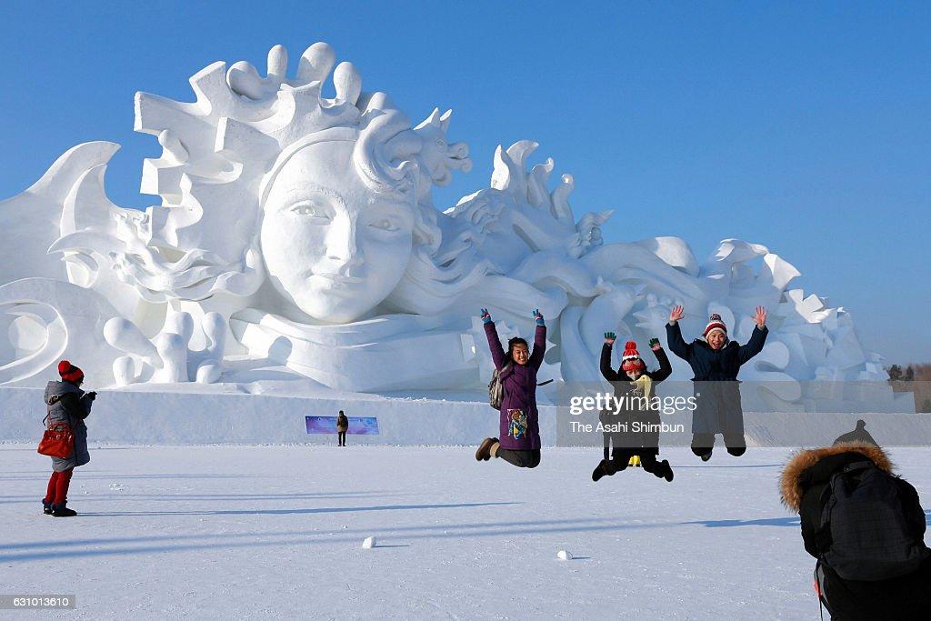 Visitors enjoy at Harbin International Ice and Snow Festival on January 5, 2017 in Harbin, China.