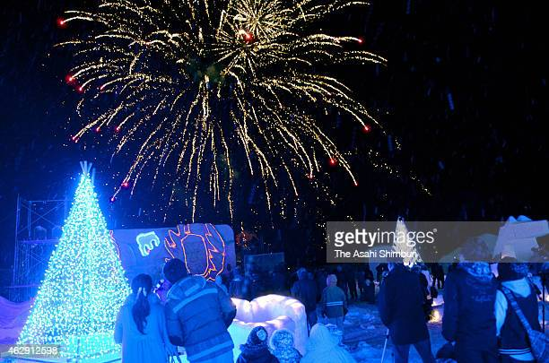 Visitors enjoy fireworks during the Towadako Yuki Monogatari Festival on February 6 2015 in Towadako Aomori Japan The annual event started to promote...