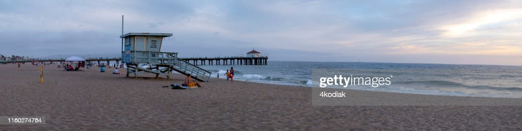 Visitors Enjoy Sunset Scene At Manhattan Beach Near Los Angeles California High Res Stock Photo Getty Images