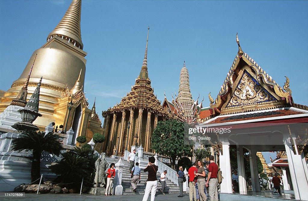 Visitors enjoy the magnificent views of Wat Phra Kaeo,... : News Photo