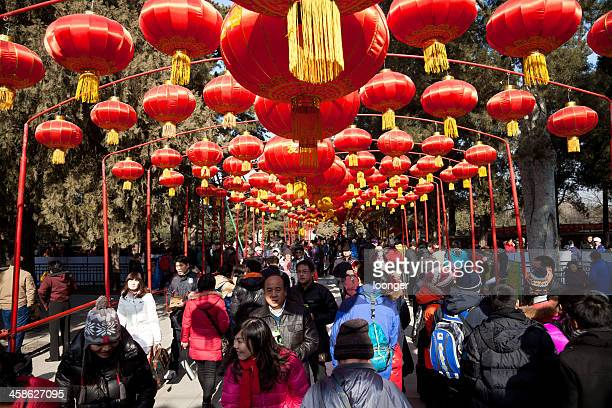 visitors enjoy the spring festival temple fair - lantern festival stock pictures, royalty-free photos & images