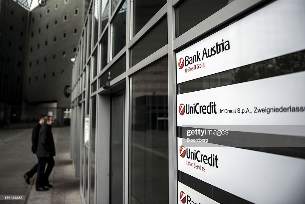 Visitors Enter A Unicredit Bank Austria Ag Office A Unit Of News