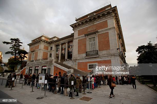 Visitors enter the Prado Museum on February 10 2015 in Madrid Spain The Prado Museum is running an exhibition called 'Hoy toca el Prado' which allows...