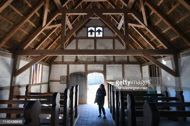 Visitors explore a recreation of a seventeenth century church at Jamestown Settlement on Tuesday March 26 2019 in Williamsburg VA Archeologists have...