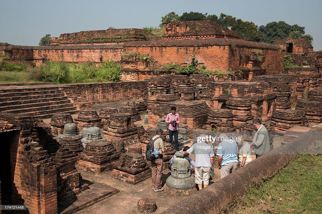 Visitors explore ruins of Nalanda University : Stock Photo