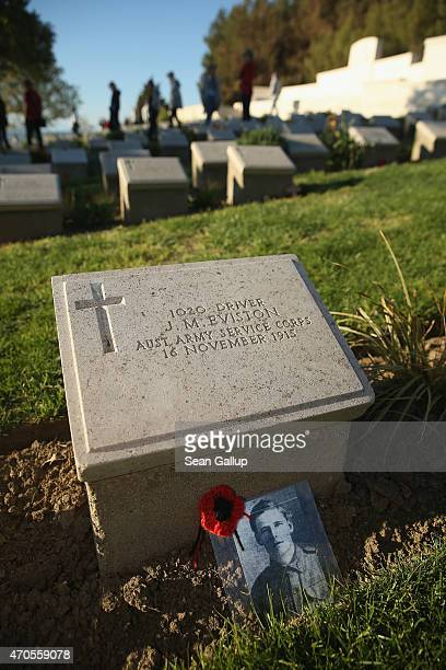 Visitors from Brisbane, Australia, walk among the graves of Australian Anzac soldiers killed during the Gallipoli Campaign at Beach Cemetery at Anzac...