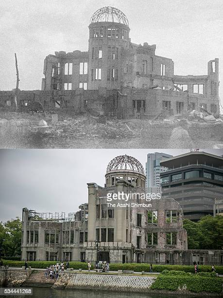 This digital composite shows the the building as Hiroshima Prefectural Industrial Promotion Hall right after the atomic bombing in August 1945 and as...