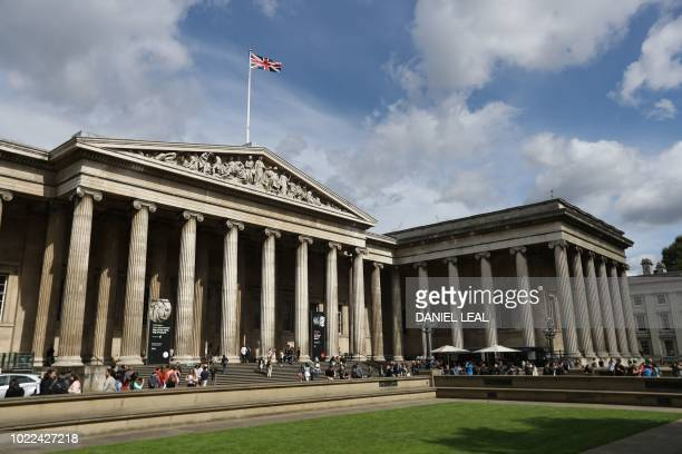 Visitors gather outside the The British Museum in central London on August 24 2018