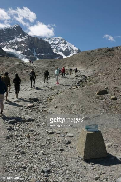 Visitors hike moraine trail receeding Athabasca Glacier Jasper National Park Alberta Canada