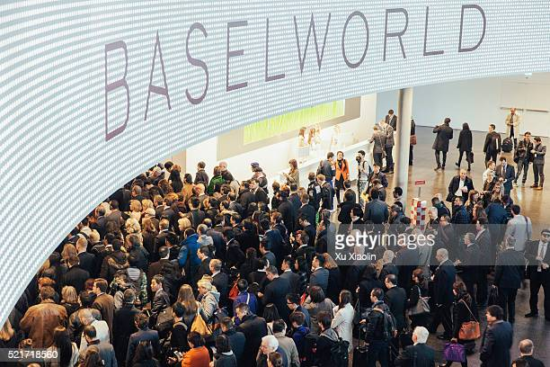 visitors in 2015 baselworld - tradeshow stock pictures, royalty-free photos & images