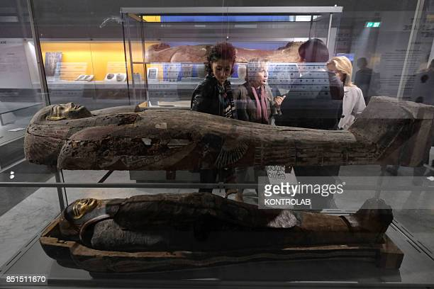 Visitors in the Egyptian Section of the National Archaeological Museum of Naples MANN reopened after restoration