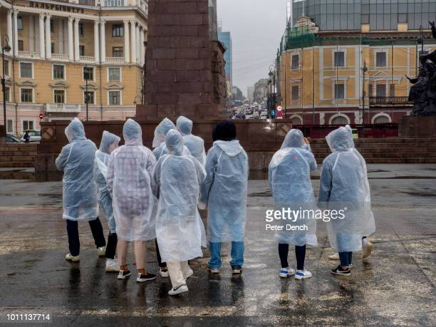 Visitors in the Square of the Fighters for Soviet Power in Vladivostok a major Pacific port city in Russia overlooking Golden Horn Bay near the...