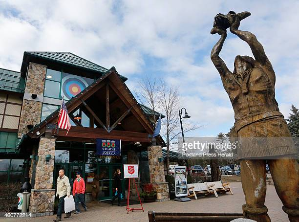 Visitors leave the store after shopping at Kittery Trading Post
