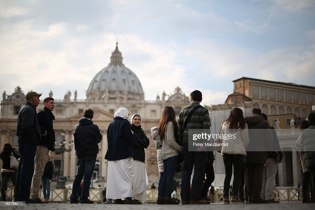 Visitors line up to enter St Peter's Basilica on February 26, 2013 in Vatican City, Vatican. The Pontiff will hold his last weekly public audience on February 27, 2013 before he retires the following day. Pope Benedict XVI has been the leader of the Catholic Church for eight years and is the first Pope to retire since 1415. He cites ailing health as his reason for retirement and will spend the rest of his life in solitude away from public engagements
