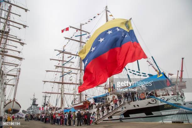 Visitors line up to enter the Simon Bolivar of Venezuela during the Velas Latinoamerica 2018 Nautical Festival at Callao Naval Base on June 21 2018...