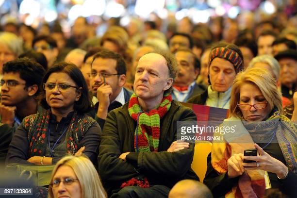 Visitors listens to professor of psychology at Harvard University Steven Pinker during DSC Jaipur Literature Festival in Jaipur on January 21 2012...