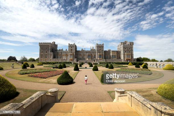 Visitors look around Windsor Castle's East Terrace Garden as it prepares to open to the public at Windsor Castle on August 05, 2020 in Windsor,...