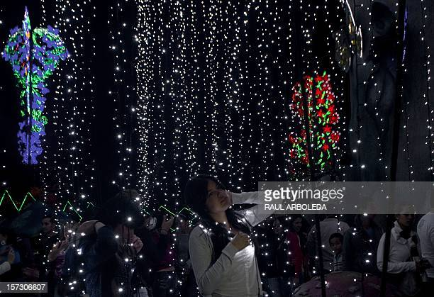 Visitors look at a Christmas lights installation near the Medellin river in Medellin on December 1 2012 AFP PHOTO / Raul ARBOLEDA