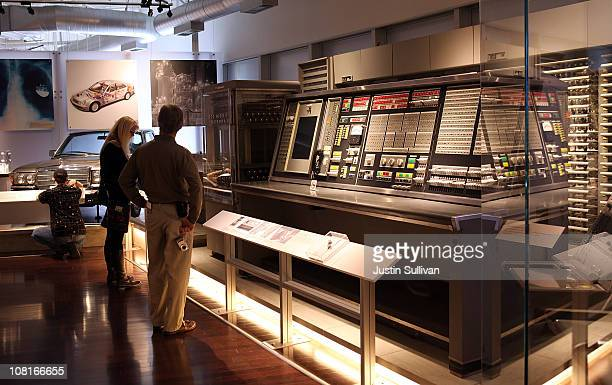 Visitors look at a display of a vintage Sage computer at the Computer History Museum on January 19, 2011 in Mountain View, California. After a two...