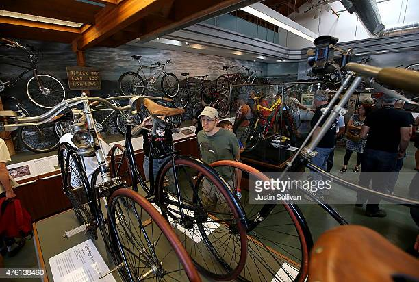 Visitors look at a display of bicycles during a grand opening celebration at the The Marin Museum of Bicycling and Mountain Bike Hall of Fame on June...