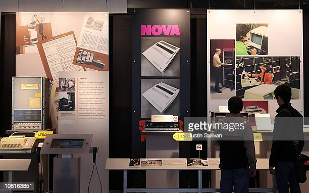 Visitors look at a display of vintage computers at the Computer History Museum on January 19, 2011 in Mountain View, California. After a two year,...