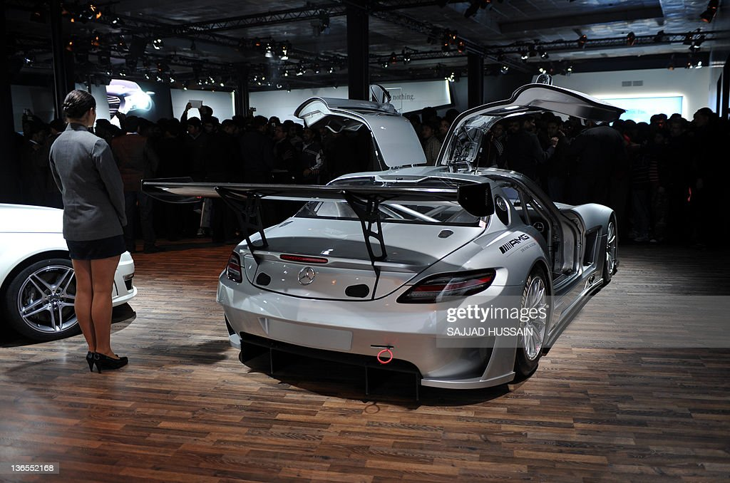 Exceptional Visitors Look At A Mercedes Benz SLS AMG GT3 Car During The 2012 India Auto