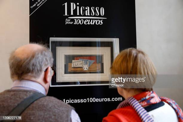 Visitors look at a painting entitled Still life by Spanish artist Pablo Picasso at Picasso museum on February 14 in Paris France A lottery will allow...