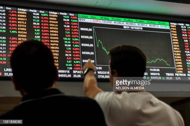 Visitors look at an electronic board at the Sao Paulo Stock Exchange in Sao Paulo Brazil on October 10 2018 Brazil's stock market took a dive...