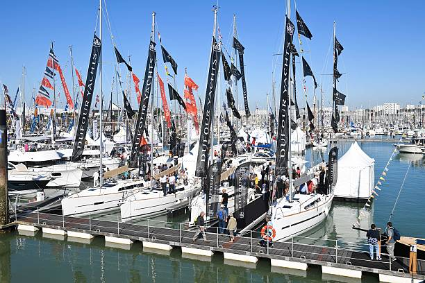 visitors look at boats by dufour yachts builder on september 29 2016 at la rochelle 39 s harbour. Black Bedroom Furniture Sets. Home Design Ideas