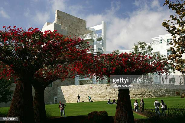 Visitors look at floral sculptures near the Getty Research Institute at the Getty Center on October 28 2005 in Los Angeles California The J Paul...