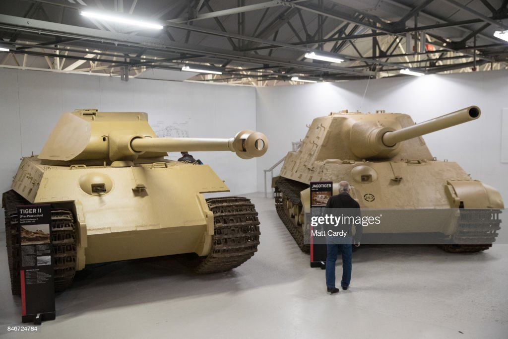Visitors look at German Tiger tanks at the Bovington Tank Museum ahead of this weekend's Tiger Day when the WW2 tank, Tiger 131, will be demonstrated to the public, on September 13, 2017 in Dorset, England. Bovington The Tank Museum is home to Tiger 131, which was captured intact by the allies during fierce fighting in the Tunisian desert in 1943 and is currently part of a world-first exhibition, The Tiger Collection, which showcases the entire Tiger family side-by-side. Such was the importance of its capture that Prime Minister Winston Churchill and King George VI went to North Africa be pictured with it.