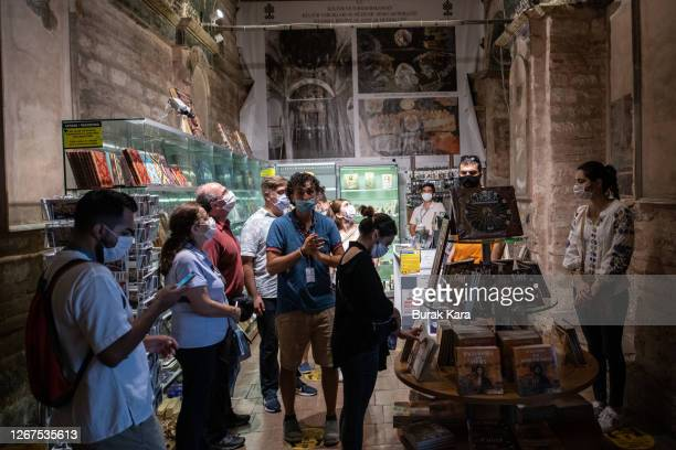 Visitors look at the Chora Church Museum, the 11th century church of St. Savior's souvenir shop on August 21, 2020 in Istanbul, Turkey. Istanbul's...