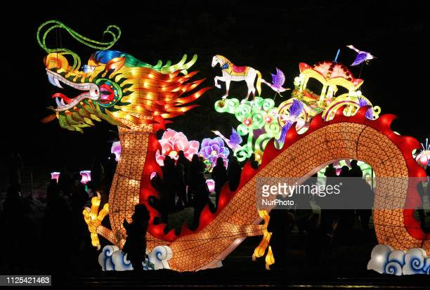 Visitors look on a giant dragon lantern as they attend the quotChinese lanterns festivalquot in Kiev Ukraine on 16 February 2019 30 sets of giant...