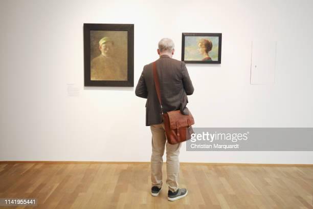 """Visitors looks at the artwork 'Ada' during the preview of the exhibition """"Emil Nolde - Eine deutsche Legende. Der Kuenstler im Nationalsozialismus""""..."""