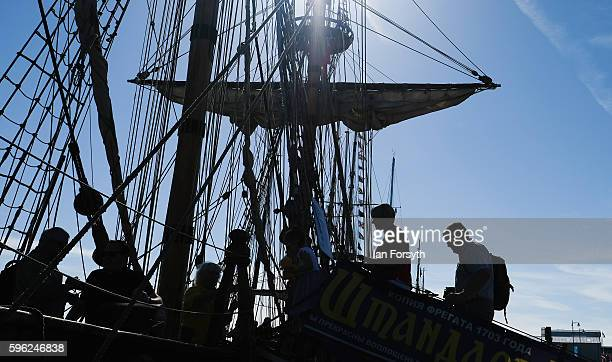 Visitors make their way on board to tour the ships moored at the quayside during the North Sea Tall Ships Regatta on August 27 2016 in Blyth England...