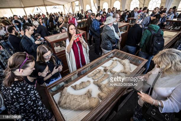 Visitors observe mummies of cats and other felines displayed after the announcement of a new discovery carried out by an Egyptian archaeological team...