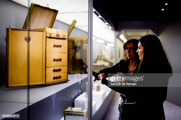 Visitors observe works of Lous Vuitton during 'Time Capsule' by Louis Vuitton Exhibition on April 16 2018 in Madrid Spain