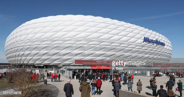 Visitors of the Bundesliga match between FC Bayern Muenchen and FC Augsburg enter the Allianz Arena stadium on March 08 2020 in Munich Germany