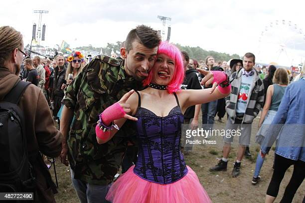 Visitors of the festival stop in Küstrin in Poland. Woodstock Stop is a rock festival in the Polish Kostrzyn nad Odra . Every year in August the...