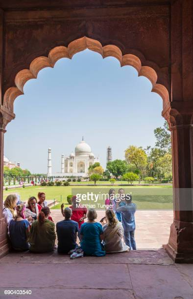 visitors on a tour at the taj mahal - interior of taj mahal stock pictures, royalty-free photos & images