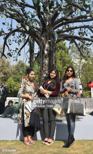 Visitors on the first day of the ZEE Jaipur Literature Festival 2018 at DIGI Place at Jaipur on January 25 2018 in Jaipur India