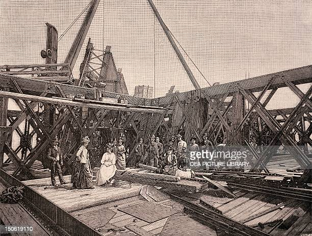 Visitors on the second terrace of the Eiffel Tower August 1888 France 19th century