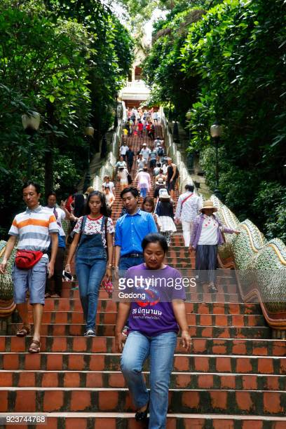 Visitors on the staircase of Wat Phra That Doi Suthep Chiang Mai Thailand