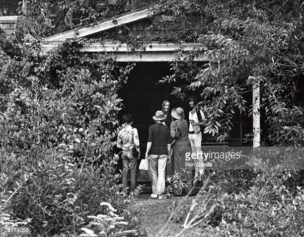 Visitors outside Grey Gardens home of Edith Bouvier Beale on 3 West End Ave in Georgica Pond East Hampton New York September 1 1972