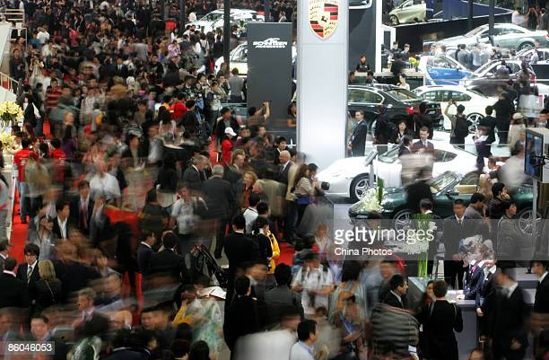 Visitors pack the Auto Shanghai 2009 , at the Shanghai New International Expo Center on April 20, 2009 in Shanghai, China. More than 1,500 automakers...