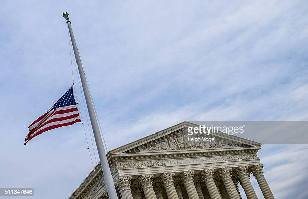 Visitors pay respects to Supreme Court Justice Antonin Scalia as he lies in repose in the Great Hall at the US Supreme Court on February 19 2016 in...