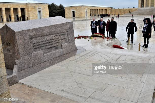 Visitors pay their respect in front of the tomb of Ismet Inonu modern Turkey's second president and successor to Mustafa Kemal Ataturk at Anitkabir...